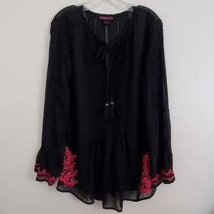 Rock & Roll Cowgirl Black & Pink Blouse - L